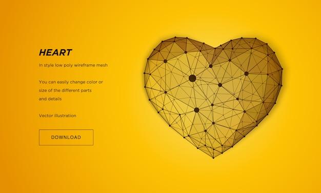 ハートインスタイルの低ポリワイヤフレームメッシュ。黄色の背景に抽象化します。コンセプト愛。神経叢ラインと星座のポイント。粒子は幾何学的な形で接続されています。 Premiumベクター