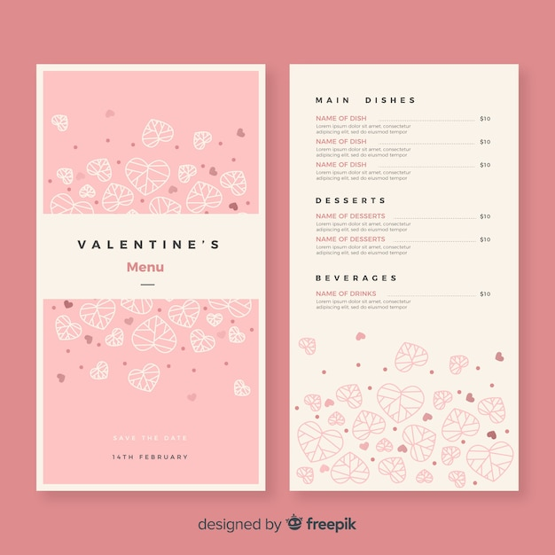 Heart leaves valentine menu template Free Vector