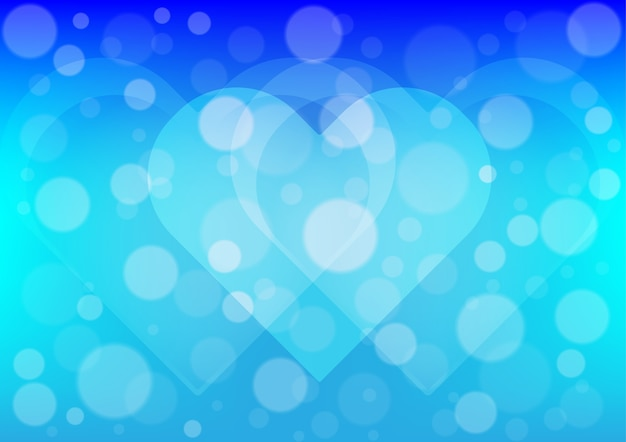 Heart light on blue color background Vector | Premium Download