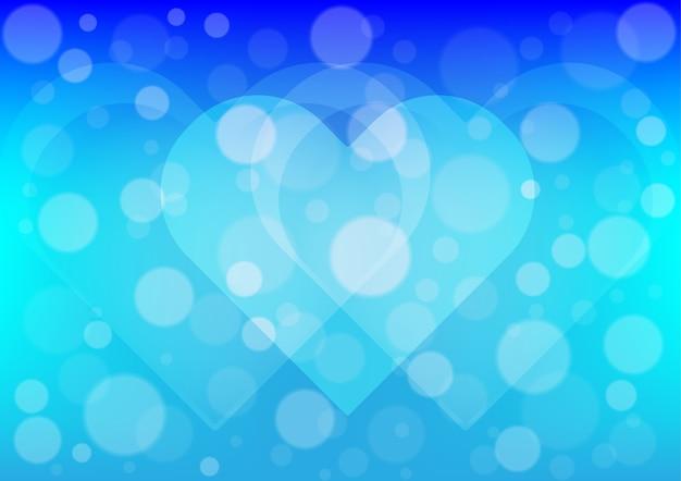 Heart Light On Blue Color Background Vector