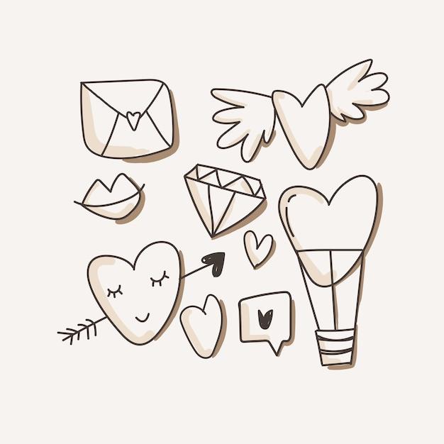 Heart, love icons Premium Vector