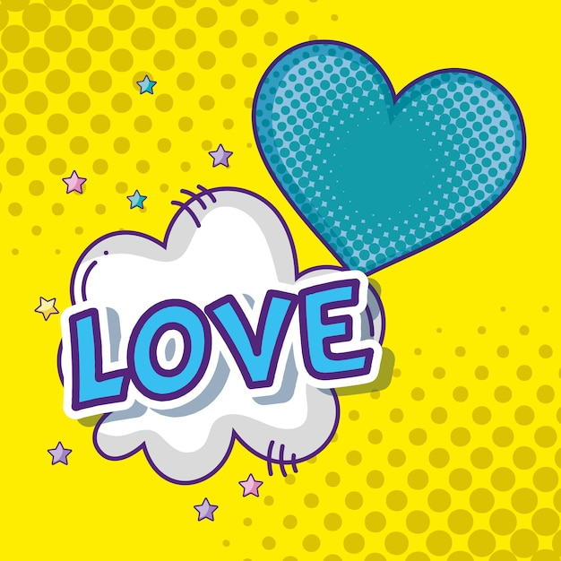 Heart And Love Pop Art Cartoons Premium Vector