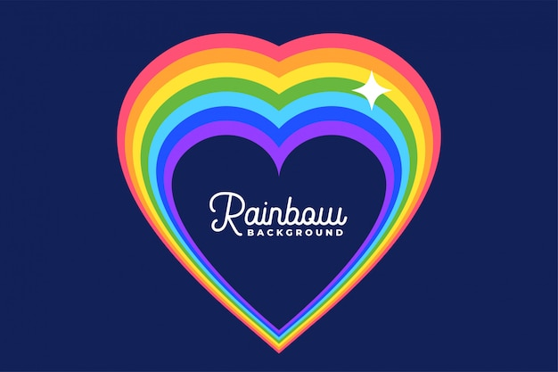 Heart love rainbow with star background Free Vector