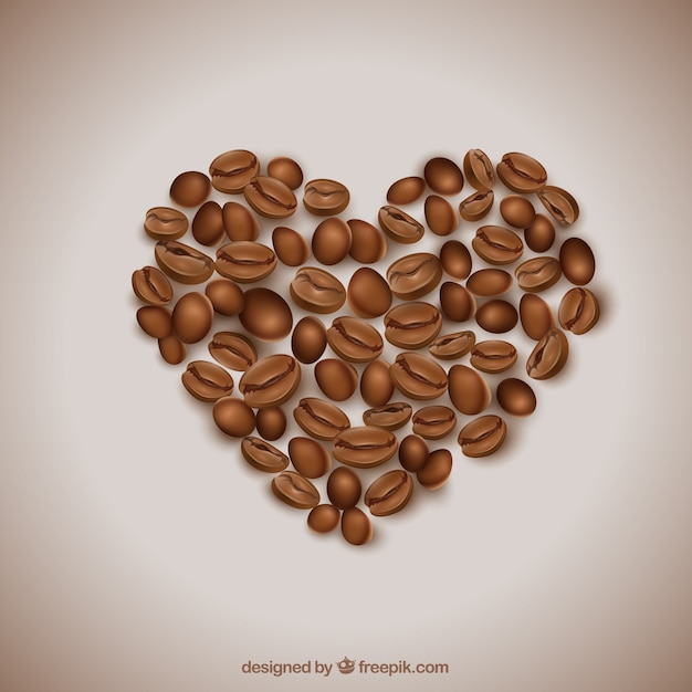 Heart made of coffee beans Premium Vector