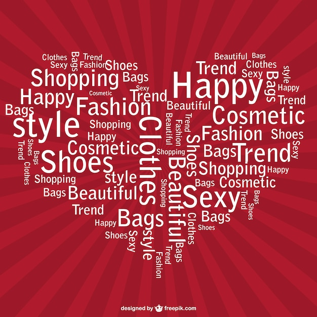 Heart Made Of Fashion Words And Red Sunburst Free Vector