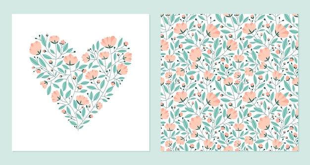 Сердце из цветов и бесшовные модели. Premium векторы