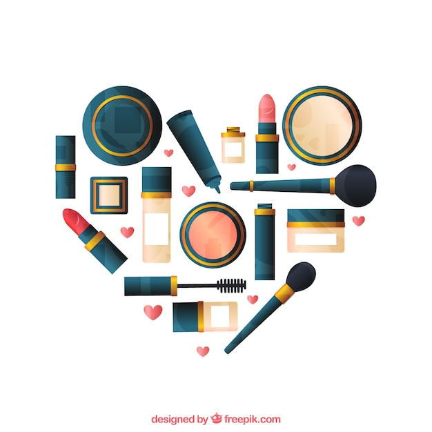 Heart made of make up Premium Vector