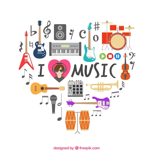 Heart made of musical icons Free Vector