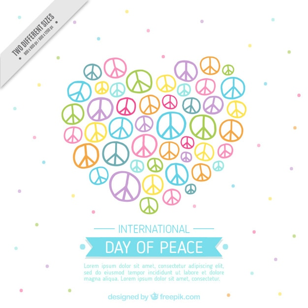Heart Made Of Peace Symbols Cute Background Vector Free Download