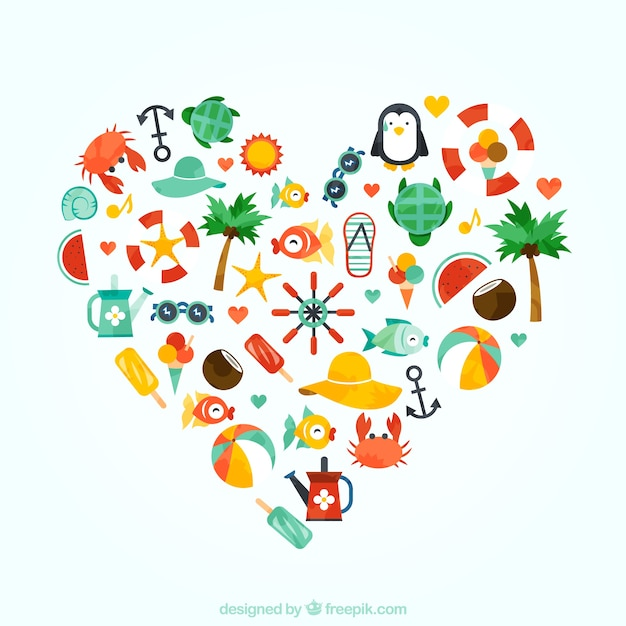 Heart made of summer icons