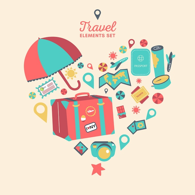 Heart made of travel elements Free Vector