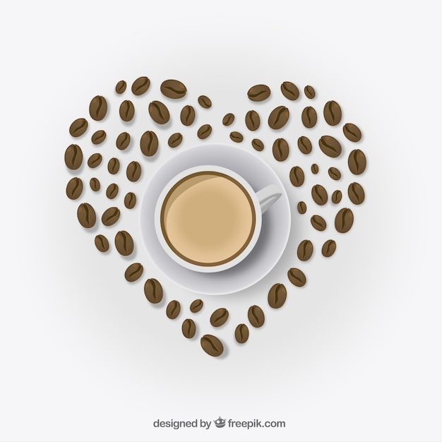 Heart made with coffee beans
