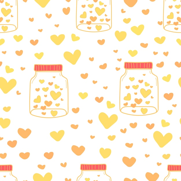 Heart in mason jars pattern background. Premium Vector