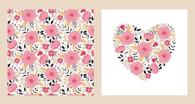 ピンクの花と葉のハートとシームレスなパターン。 Premiumベクター