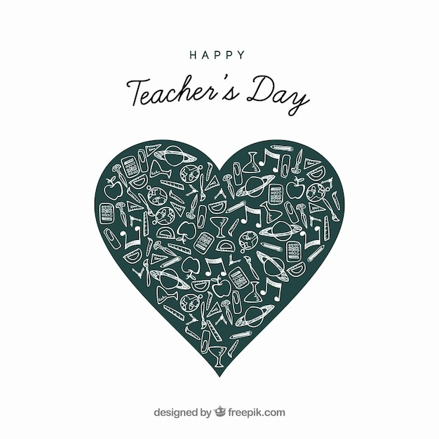 Heart out of blackboard for the teacher\'s\ day