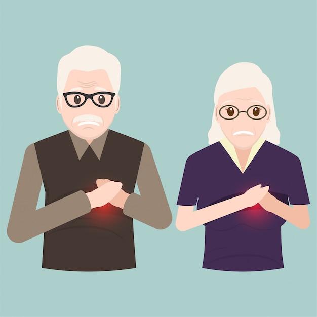 Heart patient elderly, chest patients icon Premium Vector