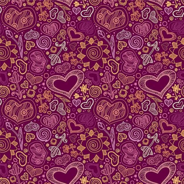 Heart pattern background Free Vector