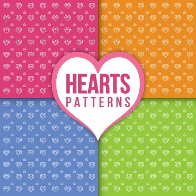 Heart patterns collection Free Vector