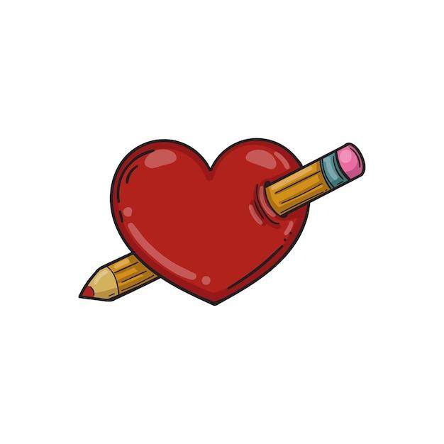 Сердце проткнули карандашом. векторная иллюстрация. значок сердца для приложений и веб-сайтов. шаблон для дня святого валентина. Premium векторы