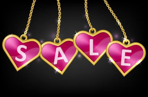 Cuore rosa tag con testo vendita Vettore gratuito