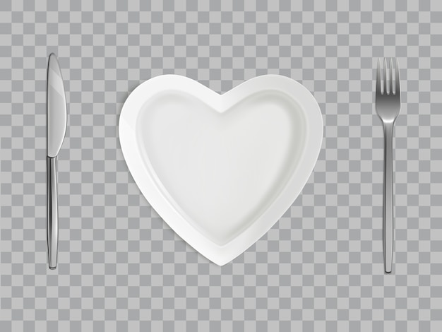 Heart plate, fork and knife, empty table setting Free Vector