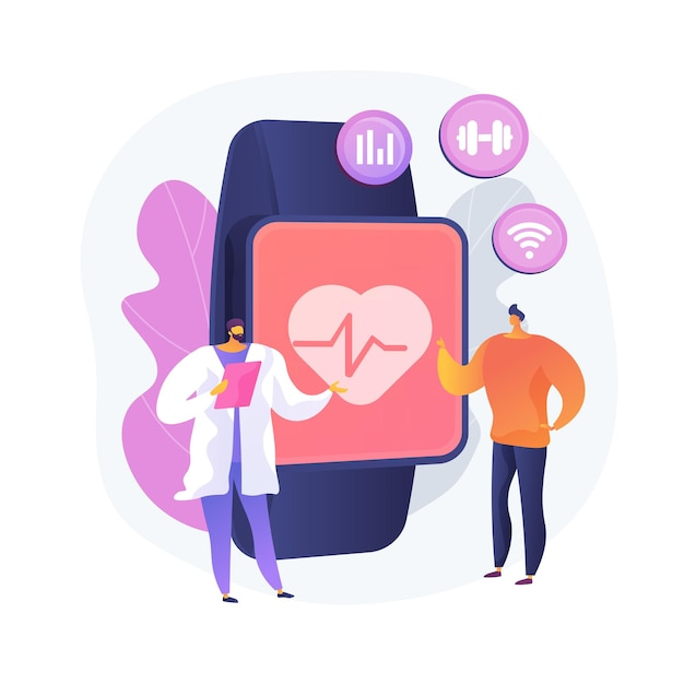 Heart rate on smartwatch. portable pulse tracker. wrist clock, watch with touchscreen, healthcare app. fitness assistant. gadget for workout. vector isolated concept metaphor illustration. Free Vector