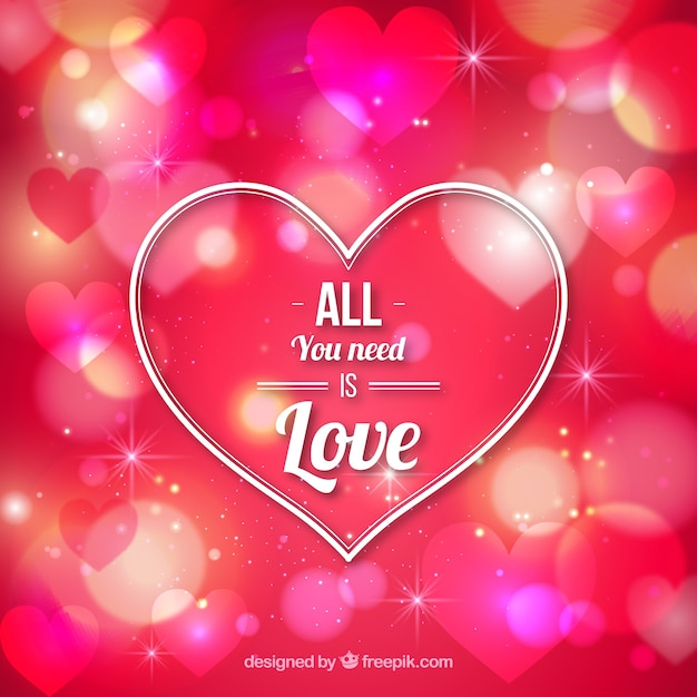 Heart San Valentine On A Bokeh Pink Background Free Vector