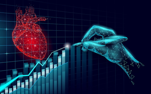 Heart science 3d medicine low poly concept Premium Vector