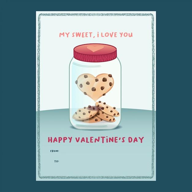 Heart-shape cookie in a jar valentine card Premium Vector