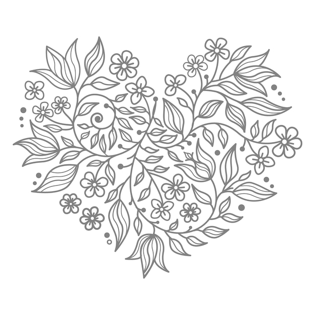 Heart shape illustration for decorative concept with floral elements Premium Vector