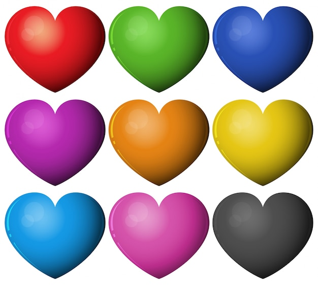 heart shape in different colors vector free download