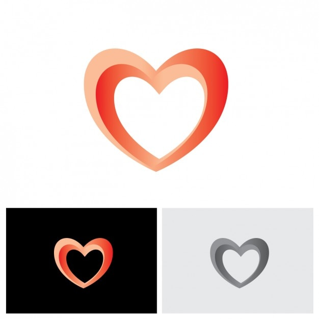 heart shape logo design vector free download