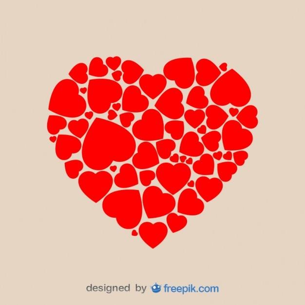 Heart Shape Made of Hearts  Free Vector