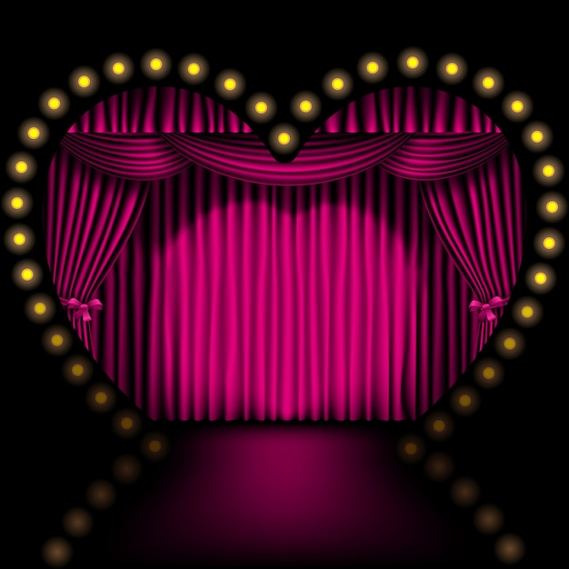 Heart shape stage with pink curtain and lights Premium Vector