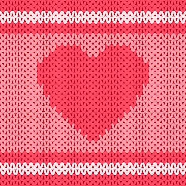 Heart shape in traditional knitted wool fabric seamless pattern design Premium Vector