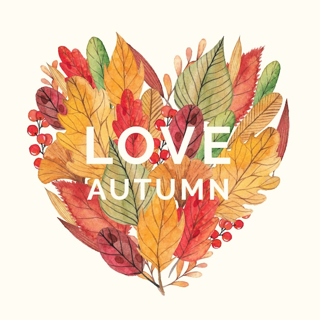 Heart shape with autumn leaves and berries Premium Vector