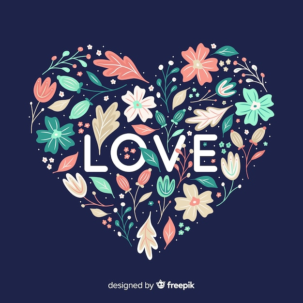 Heart shape with flowers on blue background Free Vector