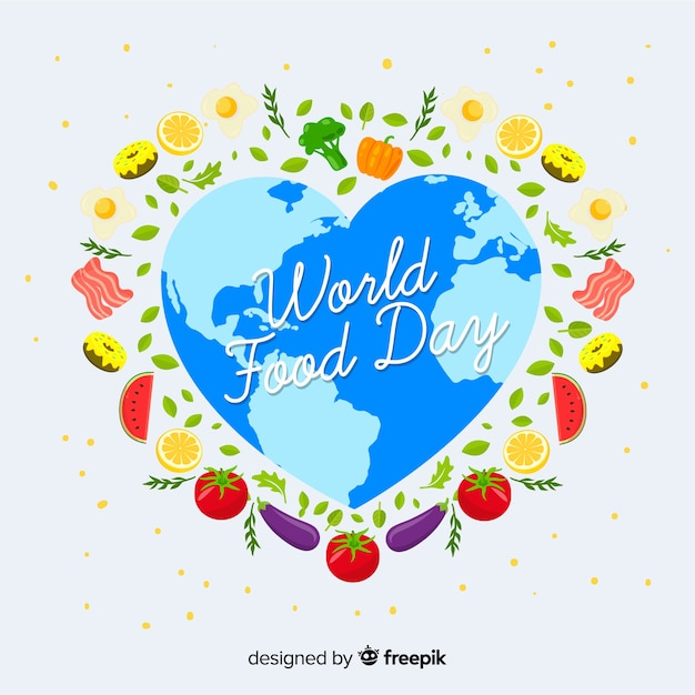 Heart shape of world for food day Free Vector