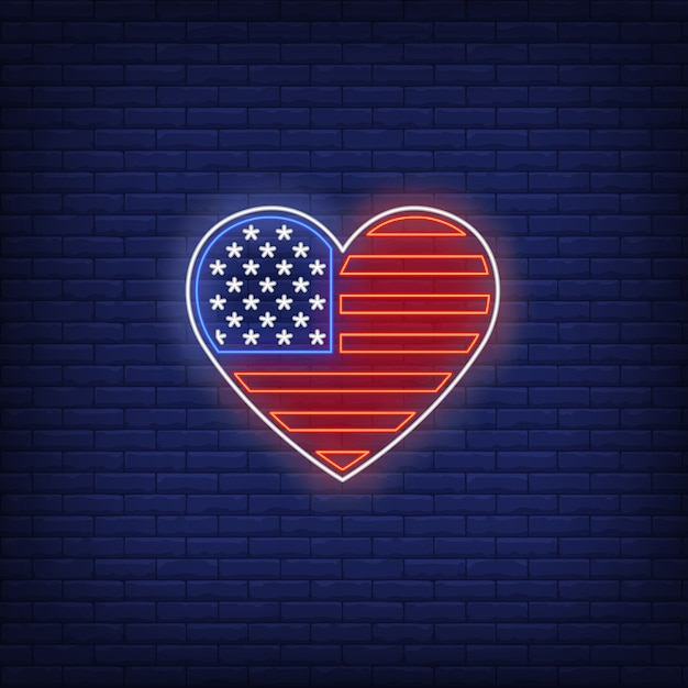 Heart shaped american flag neon sign Free Vector