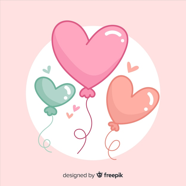 Heart shaped balloon background Free Vector