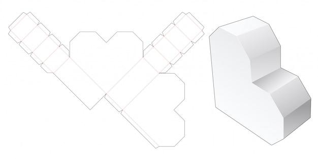 Heart shaped box die cut template Premium Vector