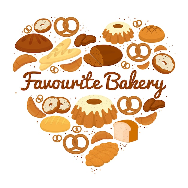 Heart shaped cakes  sweets and bread badge with central text - favourite bakery - with pretzels  muffins  loaves of bread  croissants  cakes and donuts  vector illustration on white Free Vector