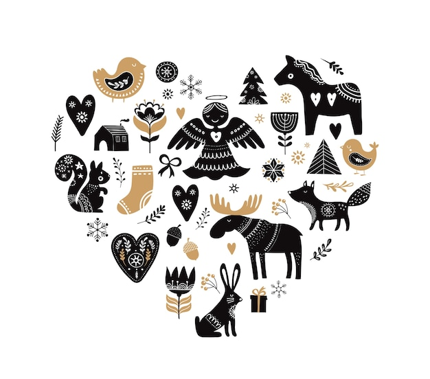 Heart-shaped collection of christmas illustrations and hand drawn elements in scandinavian style Premium Vector