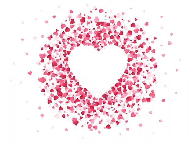 심장 모양의 색종이. 해피 발렌타인 데이 사랑스러운 프레임, 결혼 기념일 인사말 카드 심장 그림 배경의 사랑스러운 빨간 색종이 종이 모양. 로맨틱 한 배경 장식 프리미엄 벡터