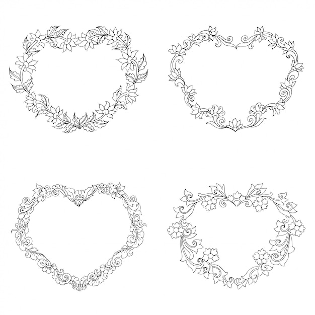 Heart shaped floral ornament, hand drawn sketch Premium Vector