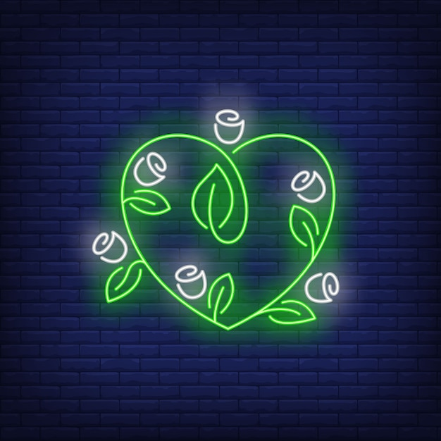 Heart shaped flowers neon sign. Free Vector