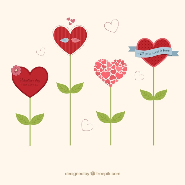Heart shaped flowers Free Vector
