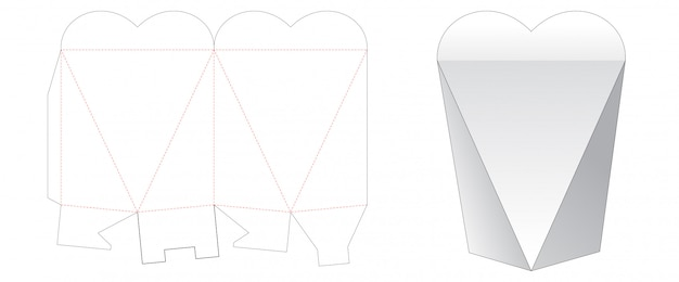 Heart shaped gift box cut template Premium Vector