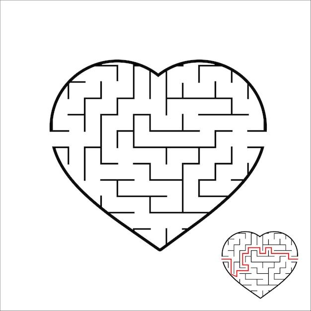 Рабочий лист лабиринта в форме сердца для детей Premium векторы