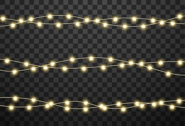 Heart-shaped lightbulbs on garlands Premium Vector
